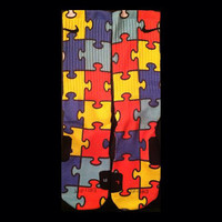 Autism Awareness Sock design on Authentic Nike Elites
