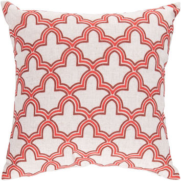 Surya Rugs FF011-2222D 22-Inch Square Coral, Cinnamon Spice, and Peach Cream Patterned Pillow Cover with Down Insert