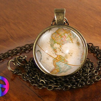Vintage Antique World Globe Map (13) Pendant Necklace Jewelry Charm Gift Gifts