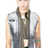 Lip Service Washed Out Denim Vest Black/Bleach