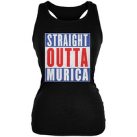 July 4th Straight Outta Murica America Funny Juniors Soft Tank Top