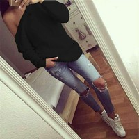 2017 Brand New Fashion Women Sweater Full Sleeve Black Solid Sweater Off Shoulder Design Pullover Sweaters