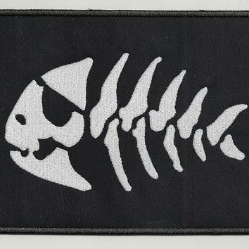 Fish skeleton - embroidered patch, 2 X 3,2