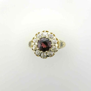 Victorian Garnet and Diamond Ring with Black Enamel Accents in 18 Karat Yellow Gold