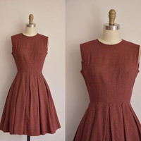 1950s dress/vintage 50s dress/burgundy and mustard plaid dress
