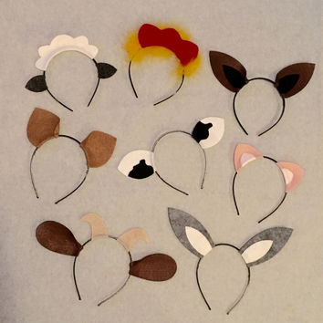 8 Headbands Barnyard farm animals theme ears birthday party favors photo booth prop costume supplies