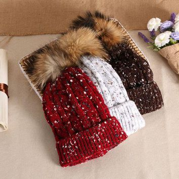 ESBU3C 2017 New Listing Winter Knitted Fur pom pom Hat Women Spring Warm Braided Crochet Knitting Hat Girl Beret Ski Beanies Ball Cap