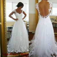 Hot White/ivory Lace Wedding Dress Bridal Gowns 2 4 6 8 10 12 14 16 18 20 Custom