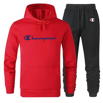 Champion New fashion letter print couple hooded long sleeve sweater top and pants two piece suit Red