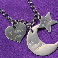 I Love You to the Moon and Back Hand Stamped Stainless Steel Necklace with Heart, Moon and Star