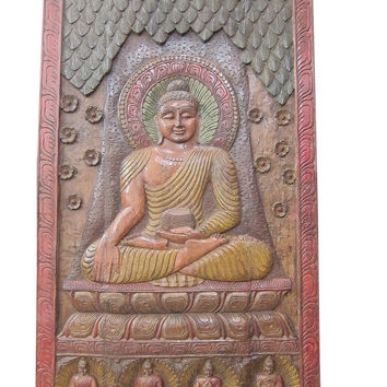Hand Carved Wall Art Buddha Sculpture Colorful India Temple Doors 72x36