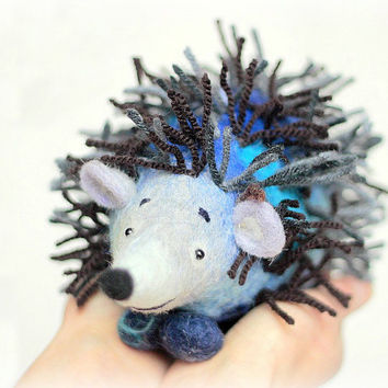 Peter Felt Hedgehog Art Toy Handmade Marionette by TwoSadDonkeys