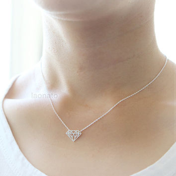Diamond Shape Necklace / choose your color, gold and silver
