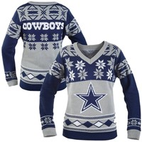 Dallas Cowboys Women's Big Logo V-Neck Ugly Sweater - Navy Blue/Silver