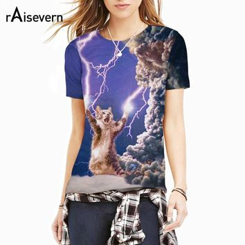 Raisevern New 3D Thundercat T Shirt Fearless Kitten Cat Playing With Flashing Lightning T Shirts Hiphop Harajuku Tees Tops
