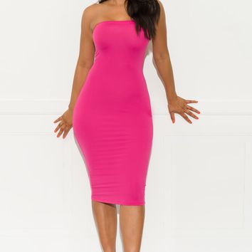 Make It Right Strapless  Dress -Hot Pink