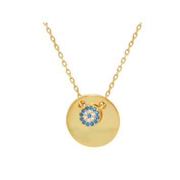 "Mini Glimmering Evil Eye Disc Pendant Necklace in Sterling Silver: Length 16"" + 2"""