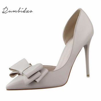 Rumbidzo Women Pumps Bowknot High Heels Thin Purple Pink Heels Shoes Pointed Toe Stiletto Elegant Bowtie Wedding Shoes Zapatos