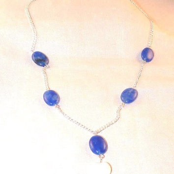 Necklace, Blue Quartzite with Silver Chain and Cream Shell Heart Pendant, Y Shaped, Ooak, Dangle