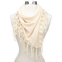 Doily-Fringe Pointelle Scarf: Charlotte Russe