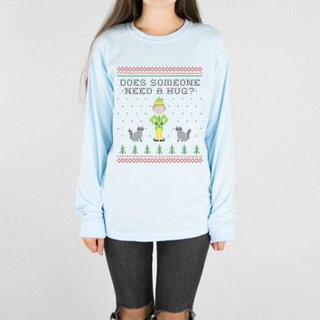 Elf Someone Needs A Hug Long Sleeve Tee
