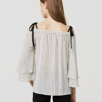 Striped Strappy Off The Shoulder Blouse | LOFT