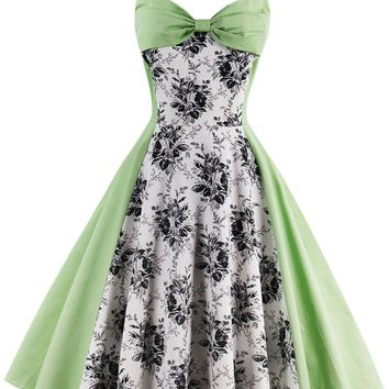 Casual Captivating Halter Bowknot Color Block Floral Skater Dress