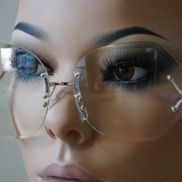 Oversized Womens Vintage Retro Style Clear Lens Sun glasses Rimless Silver Frame
