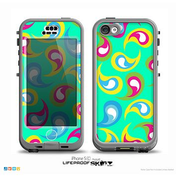 The Colorful Swirl Pattern on Trendy Green Skin for the iPhone 5c nüüd LifeProof Case