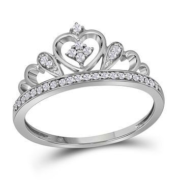 Sterling Silver Women's Round Diamond Crown Tiara Heart Ring 1/6 Cttw - FREE Shipping (US/CAN)