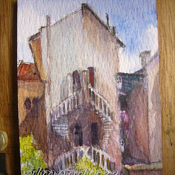 Original ACEO Watercolor Painting Side By Side Houses id1280770 buildings architecture