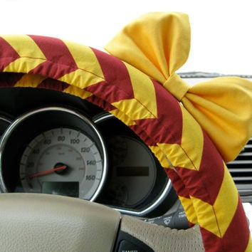 The Original Steering Wheel Cover Harry Potter Gryffindor Inspired with Matching Yellow Bow