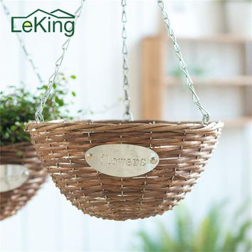 Wicker Grass Woven Braided Basket Hanging Planters Decor Pots Flower Pots For Wall Balcony Home Garden Decoration