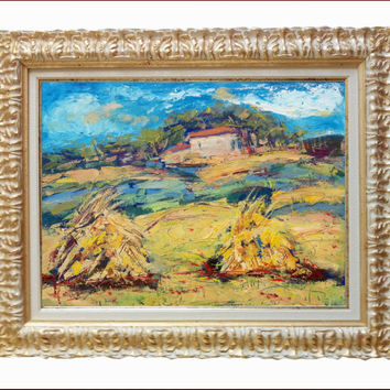 Italian painting abstract landscape Tuscany countryside original oil of Maurizio Lucarelli Italy + Frame