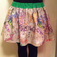 Doctor Who Inspired Bad Wolf Mini Gathered Skirt with Elastic Waistband, Rose Tyler, 9th Doctor, 10th Doctor, Geeky Skirt