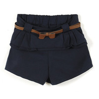 Elastic Waist Leisure Dark-blue Shorts [NCSPX0020] - $38.99 :