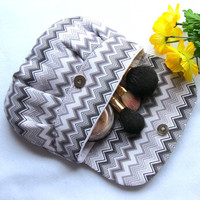 Gray Makeup  Clutch Wedding Clutch Zig Zag