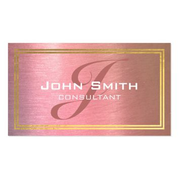 Grunge Pink Metal and Gold Foil Border Consultant Business Card