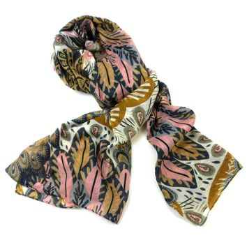Peacock Feather Polyester Scarf - Asha Handicrafts