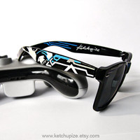 Sunglasses - Wayfarer style sunglasses Halo video game unique hand painted grey blue cyan