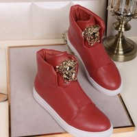 Versace Womens Fashion Tribute Ankle Boots Leather Zipper Ankle Short Boots Flats High Heels sneaker high top Shoes red