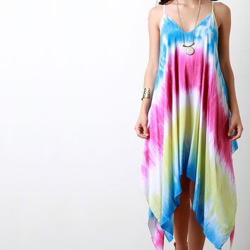 Tie Dye Trapeze Handkerchief Dress