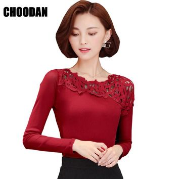 Lace Patchwork Sheer Mesh Blouse Shirt Women Long Sleeve Tops Autumn Winter 2017 Fall Korean Style Fitness Ladies Office Shirts