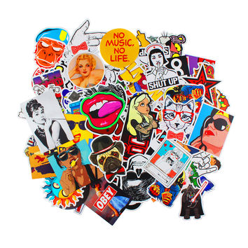 50pcs Mixed Decal Car Styling Skateboard Laptop Luggage Snowboard Car Fridge Phone DIY Vinyl Decal Car Motorcycle Sticker Covers