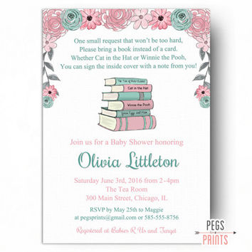 Storybook Baby Shower Invitation - Book Baby Shower Invitation - PRINTABLE Nursery Rhyme Baby Shower Invite - Bring a Book Instead of a Card