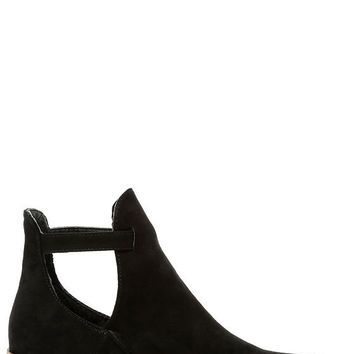 Side Kicks Suede Cutout Ankle Boot- Black