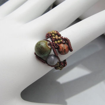 Boho Bead Ring Wire Wrap in Copper Wire