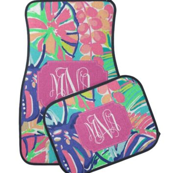 Exotic Garden Lilly Inspired Monogram Car Mats