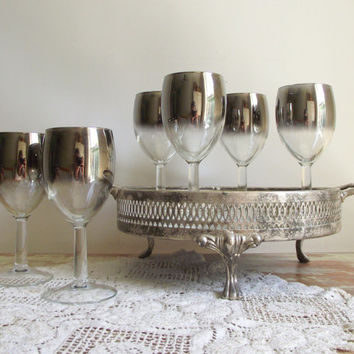 Silver Fade Wine Glasses / Set of 6 Luminarc Glasses / Vintage French Silver Ombre Barware / Sherry or Wine Glasses / Vintage Stemware