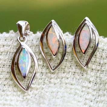 0002_OPSW,Opal Earrings,Opal pendant,Stone earrings,Opal Necklace,925 Sterling Silver
